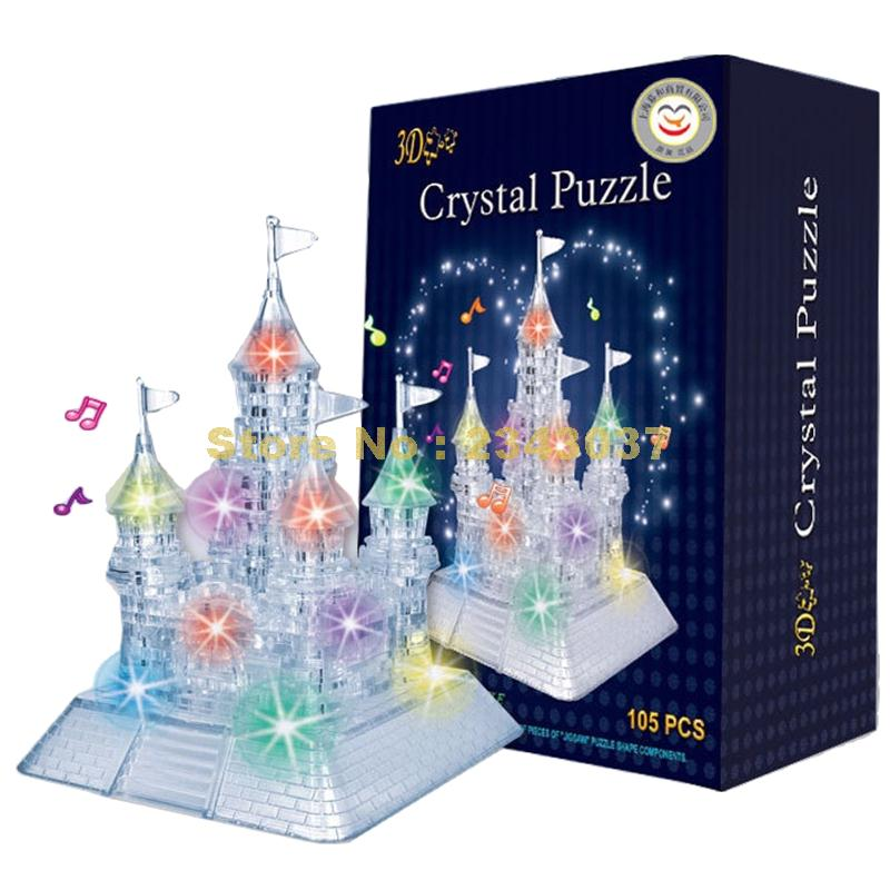 3D DIY Crystal Music Puzzle Jigsaw Kid Early Learning Castle Construction pattern gift For Children Brinquedo Educativo Houses(China (Mainland))