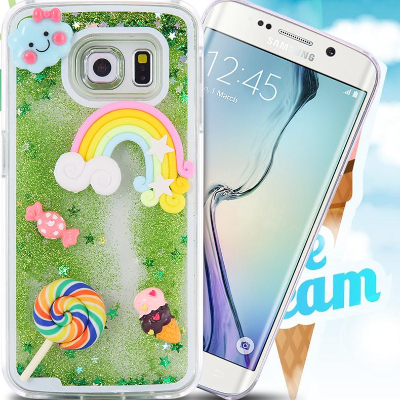 For Samsung S6 Edge Phone Cases Dynamic Liquid Bling Stars Cartoon Cover For Samsung S6/Edge G9200 Slim Rainbow Bee Hard Shell(China (Mainland))