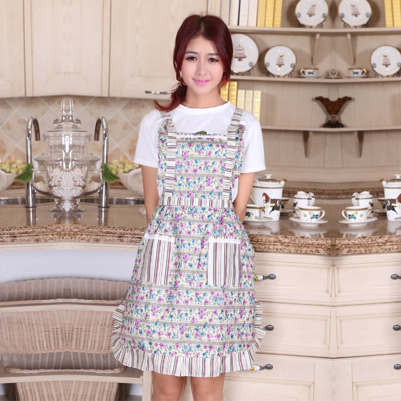 Hot Sale Women Restaurant Home Kitchen apron Flower Printed Pocket Cooking Cotton Apron Free Shipping(China (Mainland))