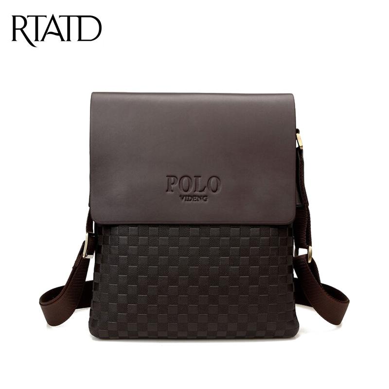 2016 Hot men plaid shoulder bags male vintage casual messenger bag retro PU leather handbags business travel bag bolsas QF043(China (Mainland))