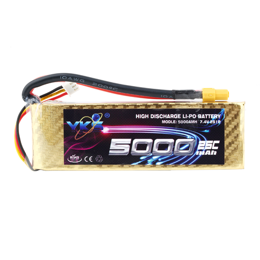YKS High Power 7.4V 5000mAh 25C MAX 40C XT60 Plug Rechargeable Lipo Battery for RC Helicopter Airplane