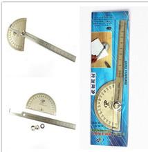 Transportador goniómetro ángulo del brazo de medición de cabeza redonda del acero inoxidable herramienta General