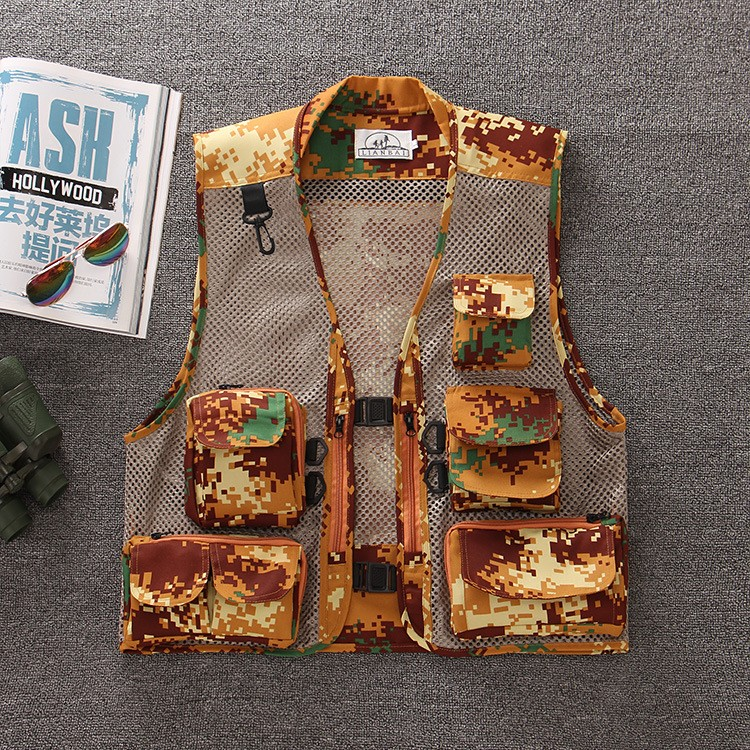 Outdoor Vests Men Fishing Vest Multifunctional Quick-Drying Fly Fishing Vest Jacket Summer Outdoor Photography Camouflage Coats