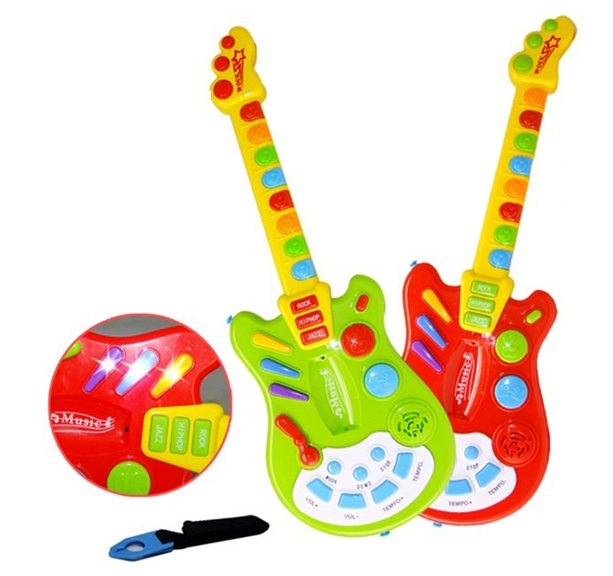 Free Shipping Musical Toy Guitar Dimple Electric Guitar with Music and Lights Musical Toy Instrument For Educational(China (Mainland))