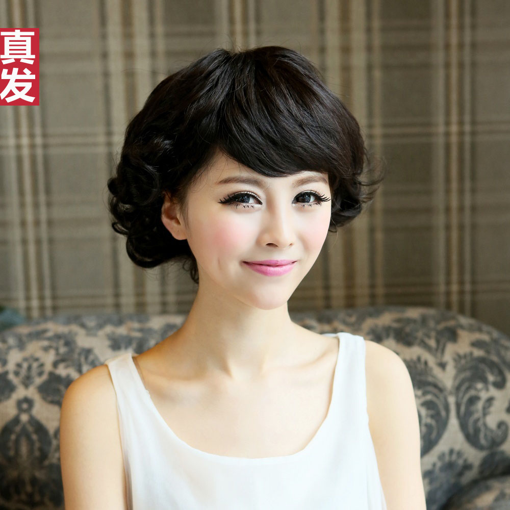 lady love fashion hairpiece Wig real hair wig quinquagenarian wifing stubbiness female real hair wigs elegant short wig(China (Mainland))