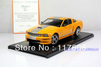 Free Shipping 1:18 Ford Mustang GT orange alloy coupe model Car toys Model car Toy model