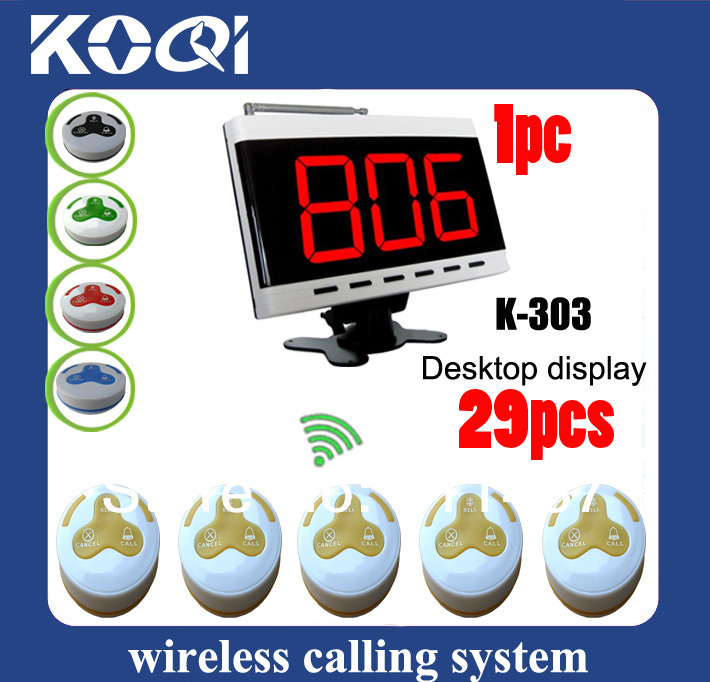 Wireless Pager System K-303 display and 29 pcs K-H3WY push button DHL free shipping(China (Mainland))