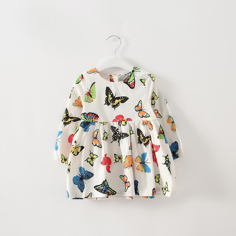 Retail autumn girls long sleeve butterfly printed dress kids cotton dresses clothing girl fashion kids girls 1161(China (Mainland))