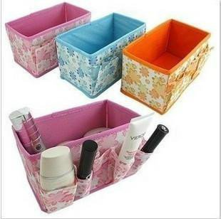 FREE SHIPPING  3 Colors  Specification: 18 x 10.5 * 10 CM Folding Make Up Cosmetic Storage Box Container Bag Case 6pcs/lot
