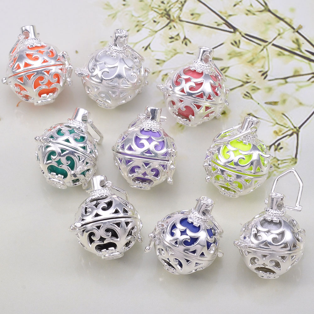10Pcs Mix Colorful  Balls Pregnancy Angel Whisper Harmony Chime Ball Silver Cage Pendant With Clear Zircon Stone<br><br>Aliexpress