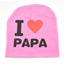 2016 fashion summer baby hats knitted warm cotton toddler beanie baby girl boy I LOVE PAPA MAMA print kid cap 1-3 years old(China (Mainland))