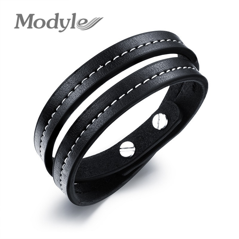 Modyle Men leather bracelets bangles wolf tooth multilayer leather with alloy men jewelry bracelet love design vintage brown(China (Mainland))