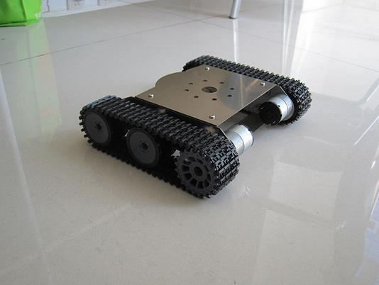 Tank car chassis,Crawler robot smart car,stainless steel body tank car for development robot,test car for DIY,Free shipping(China (Mainland))
