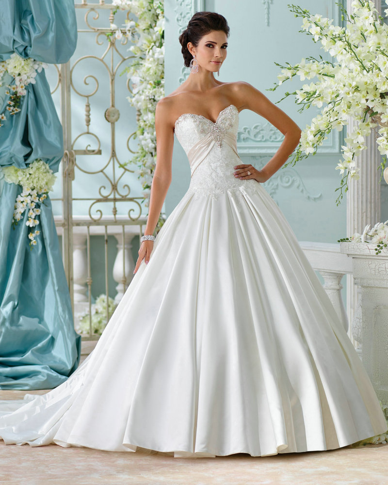 Style lucienne 116215 elegant satin wedding dress princess for Wedding dresses ball gown style