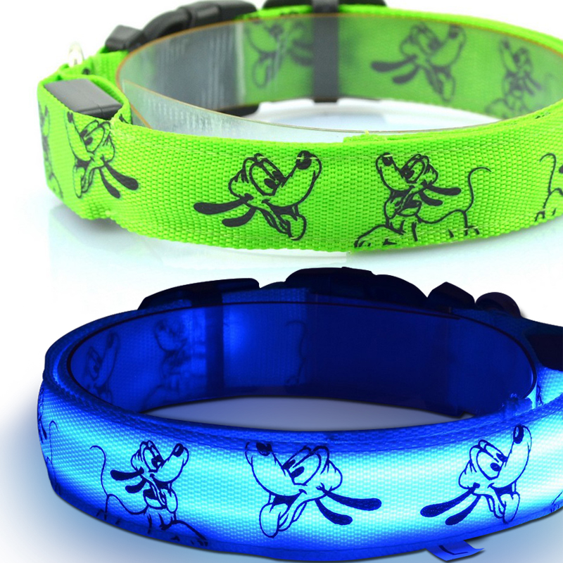 Nylon LED dog collar Print Dog picture 6 colors to choose Dog collars Free shipping(China (Mainland))