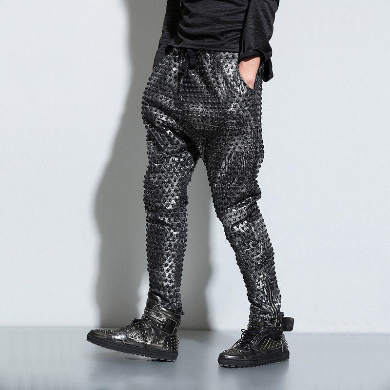 2016 Spring Mens Silver Embossing Casual Harem Pants Men Drop Cross Pants Punk Style Rock Loose Pant Trousers Streetwear For Men(China (Mainland))