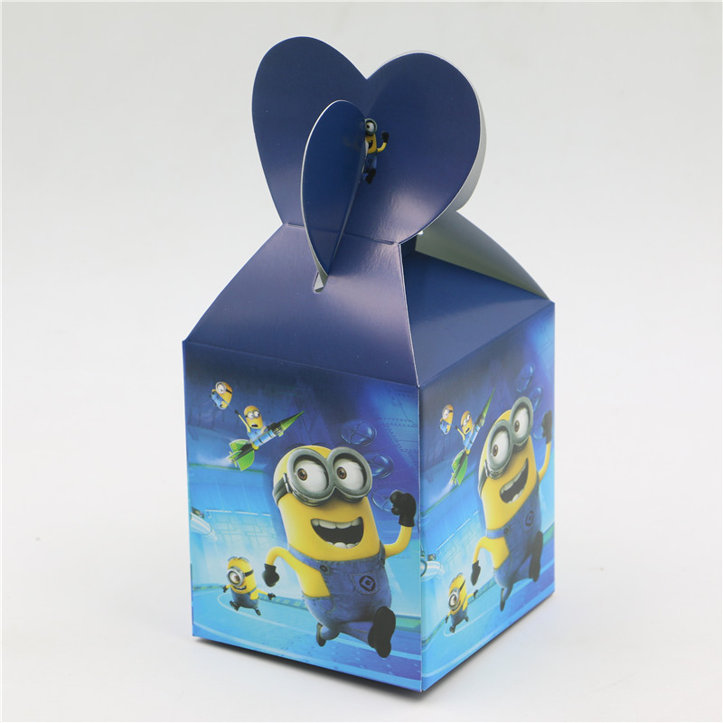 6PCS Minions Paper Bags Baby Shower Souvenirs Gift Box Favor Candy Birthday Party Kids Decorations Event & Party Supplies(China (Mainland))