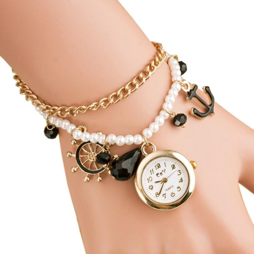 relojes mujer  Luxury brand watches for women 5 color stainless steel Fashion Pearl Bracelet Quartz Watch Women Wristwatches<br><br>Aliexpress