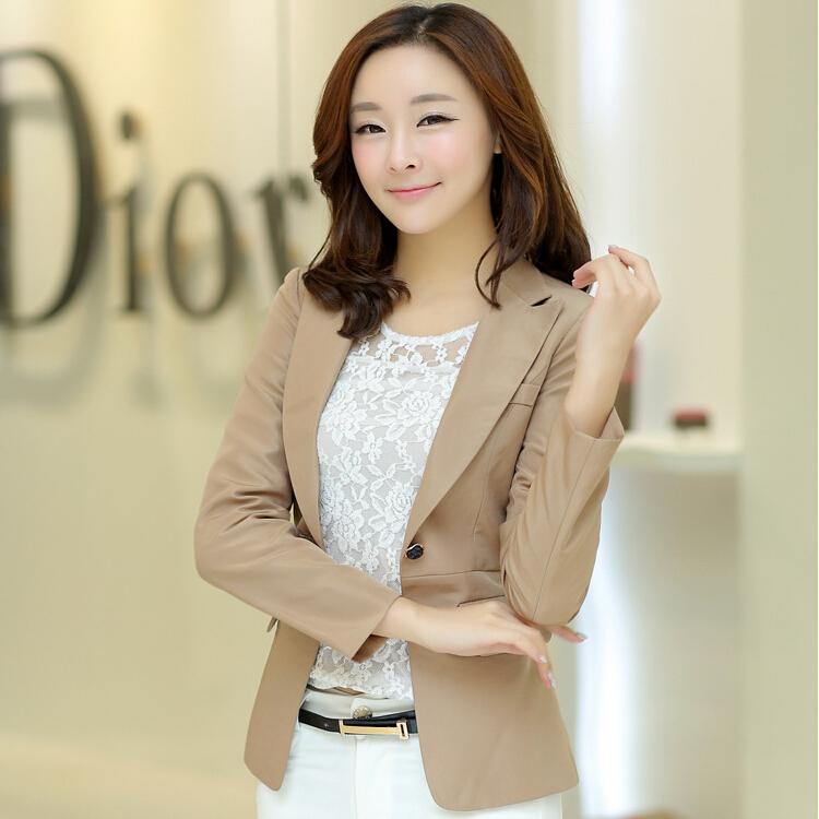 2015 blazer women one button ladies' candy suits jacket black khaki pink s-xxl hot feminino