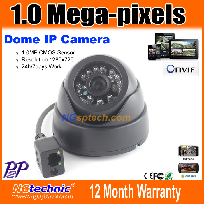 Best Quality! CCTV security system 720P 1.0MP P2P Onvif2.0 Motion dection 24 IR Night Vision Network Dome surveillance IP Camera(China (Mainland))