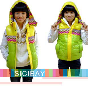 Fashion Designer Kids Outerwear,Girls Winter Beautiful Vests,Cotton,Free Shipping  C0640