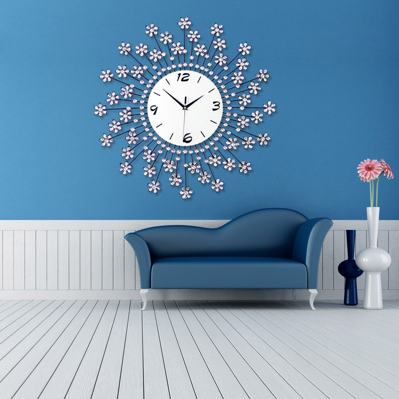 Luminousness large luxury modern living room wall clock for Living room wall clocks