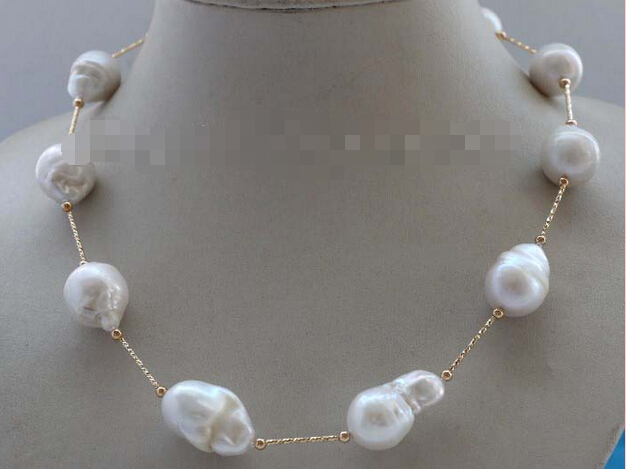 Natural 23mm White Baroque Reborn Keshi Pearl Chain Necklace 14k #f2161!Noble style Natural Fine jewe fast SHIPPING(China (Mainland))