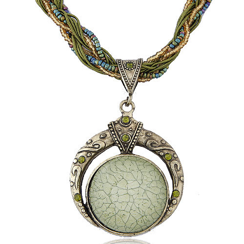 Love in Mediterranean Bohemian Style Opal Costume Jewelry Rope Necklace Women Accessories(China (Mainland))