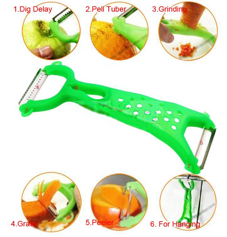 10pcs Practical Kitchen Tools Gadgets Helper Vegetable Fruit Peeler Parer Julienne Cutter Slicer Grater With Tracking Number(China (Mainland))