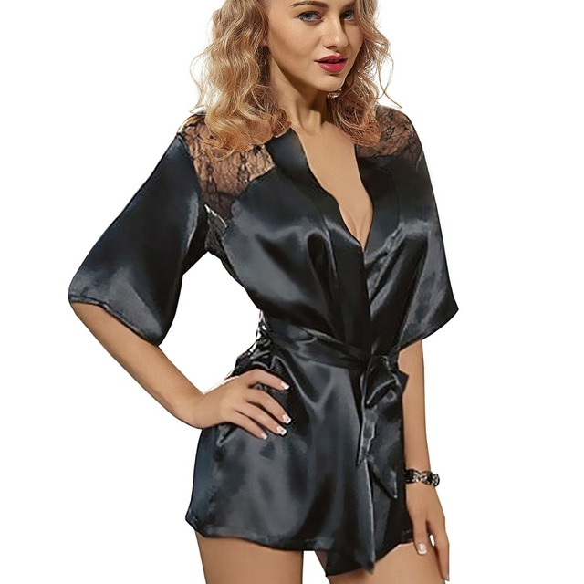 New Sexy Lingerie Satin Lace Back Style Ladies Robes Night Gown Nightwear Sexy Nightwear  Mature Lingerie Set