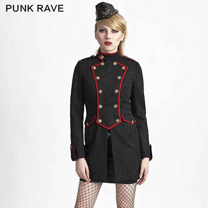 Military Style Wool Coat Punk Rave 2016 New Winter Womens