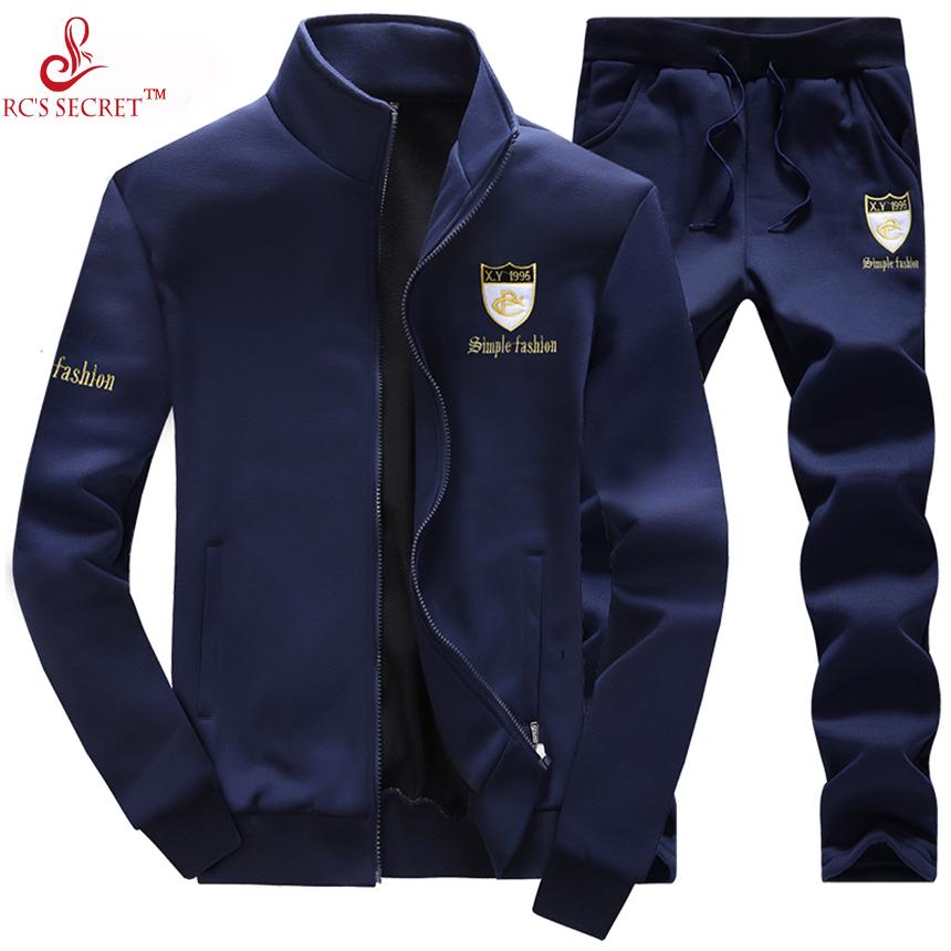 RC'S SECRET 2017 Men Winter hoodies Sporting Suit Mens Tracksuits sportsuit 2pcs Sweatshirt black Sportswear hooded hoody(China (Mainland))