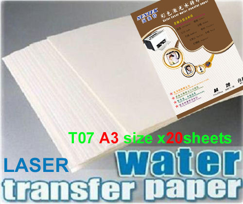 T07 A3 WHITE laser papel transfer paper x20pcs water slide decal paper camisetas water transfer papier transfert ceramic decals(China (Mainland))