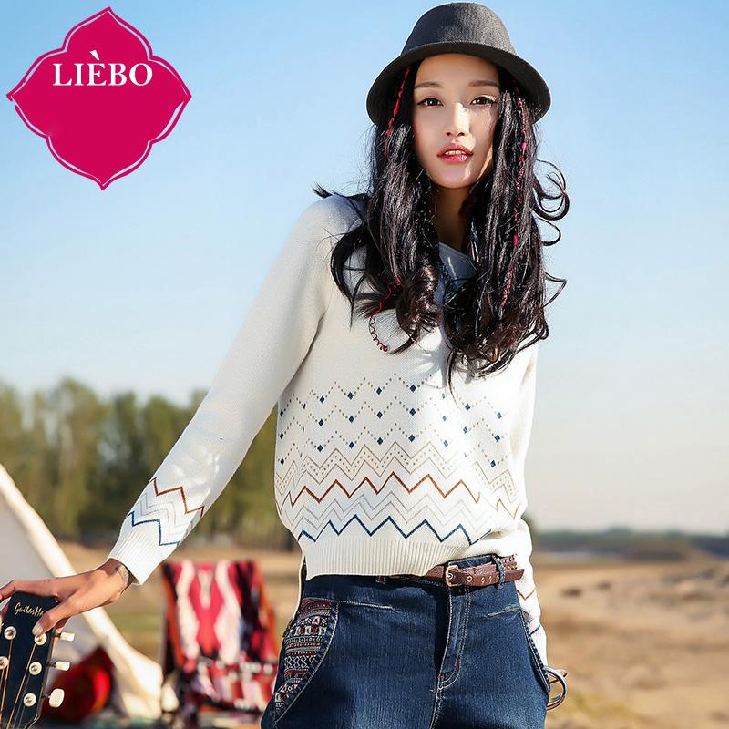 LIEBO 2016 Spring Geometry Jacquard Weave Sweater Women Wool Blend Straight Knitwear Pullover Raglan Sleeve Pure White 51151916