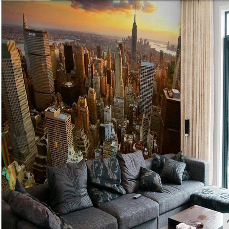 Custom 3d wallpaper wall Bride paes city wall landscape background sofa fourth New York photo wallpaper for living room(China (Mainland))