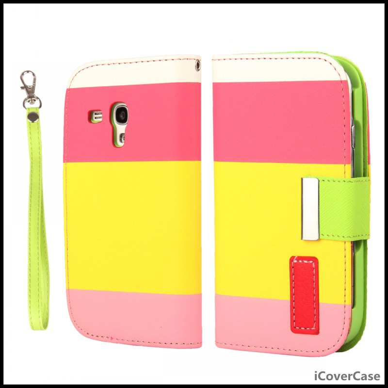 For Samsung S3 mini Case Multicolor PU Leather Stand Wallet Case Cover for Samsung Galaxy S3 Mini i8190 with Lanyard(China (Mainland))