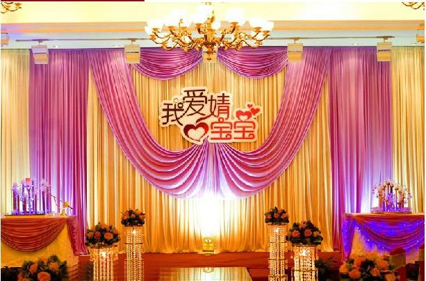 3m*6m Fabric Satin Drape Curtain Wedding Backdrop Canopy Ribbon Wine Party Stage Celebration Favors wd603(China (Mainland))