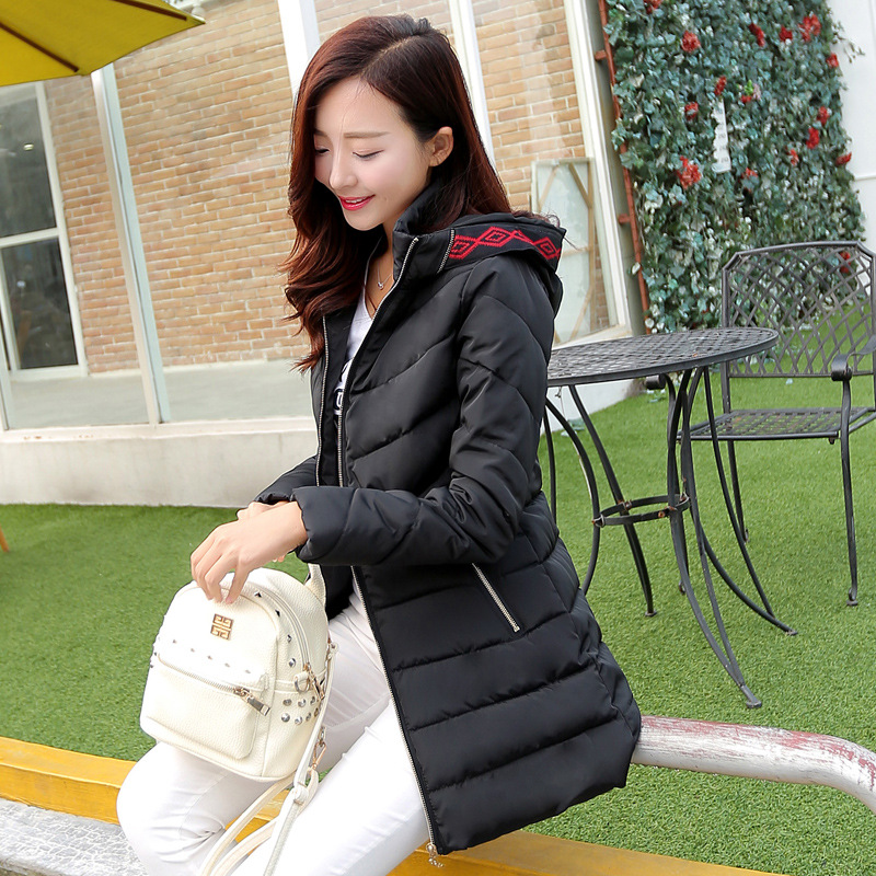 Women Jacket Winter 2015 Hooded Slim Parka Women Long Cotton Padded Coat Winter Women Jacket