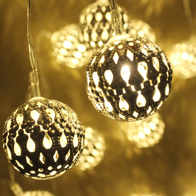 1M Golden Moroccan Orb LED String Lights Battery Operated 10 Leds, Christmas wedding decorative lights lumineuse guirlande - Shenzhen Goodia Lighting Technology Co., LTD store