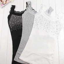 "Z101""Girl Women's Rhinestone Sequin Lace Tank Top Sling Camisole Cami Shirt Vest Slim(China (Mainland))"