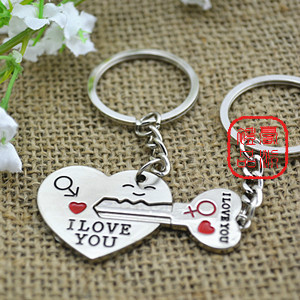 Metal couple key chain heart key lock you promotional key chain circle(China (Mainland))