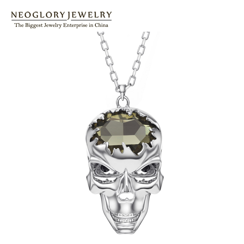 Neoglory Jewelry Fashion Crystal&amp;Czech Rhinestone Necklace Skull Pendant Jewelry Hallowmas Gift 2013 New Arrival Hot Selling<br><br>Aliexpress