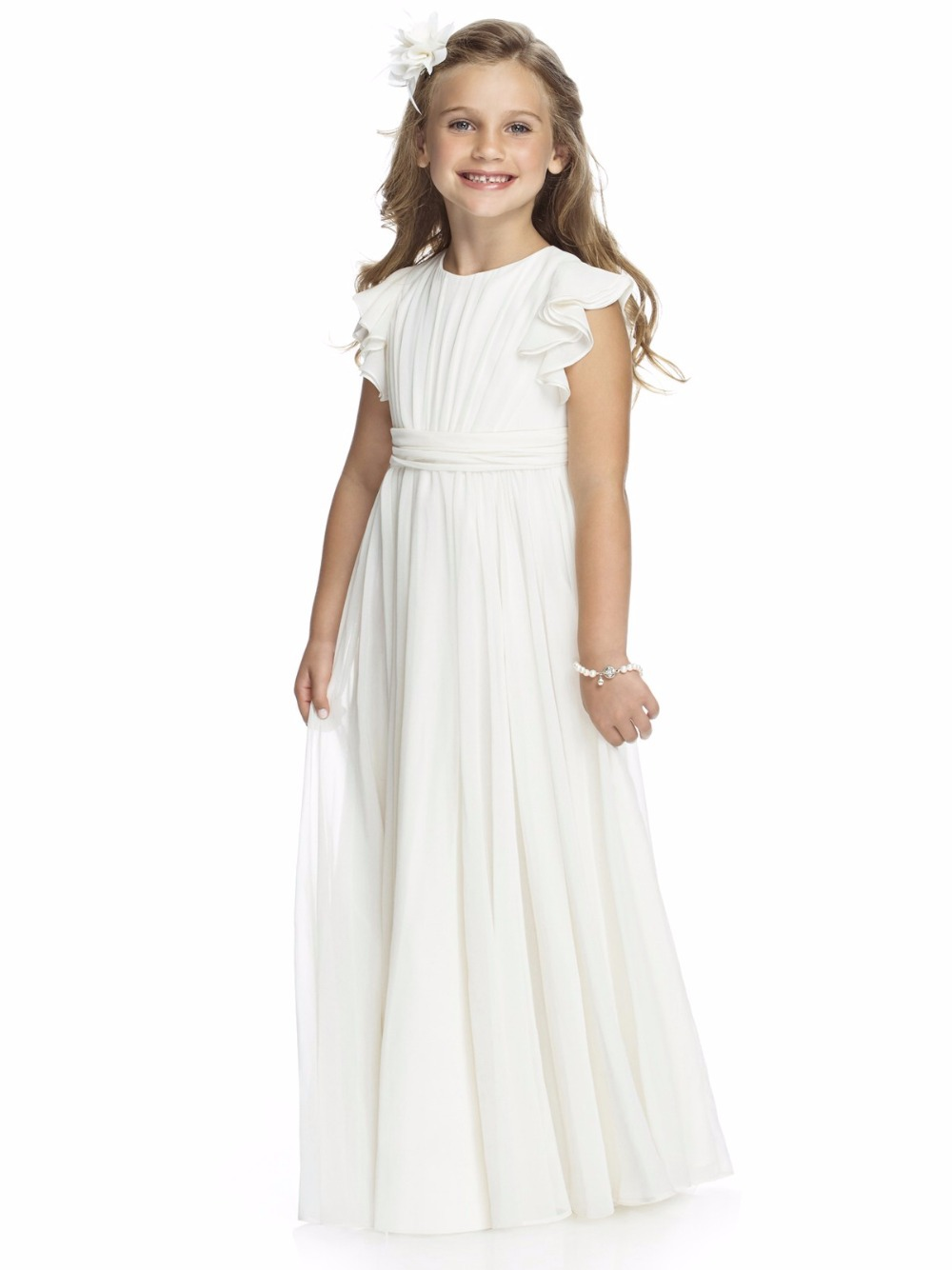 2016 Short Cap Sleeve Long Ivory Chiffon Cheap Flower Girls Dresses For Weddings Event A Line First Communion Dress For Girls(China (Mainland))