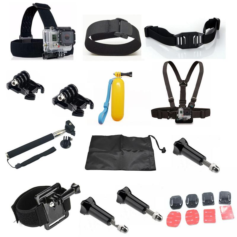 Gopro Accessories Chest Belt+Remote Wrist Belt+Head Strap+Helmet Strap+Bag+Handheld Monopod Mount for Gopro HD Hero3 3+ 4 sj4000<br><br>Aliexpress