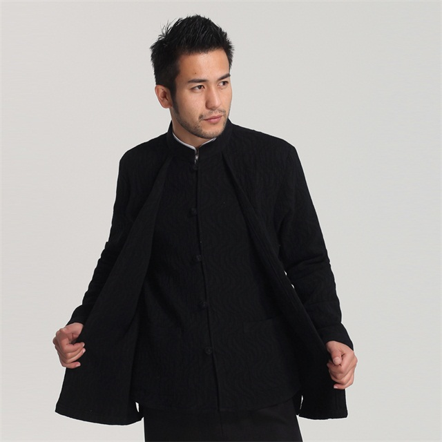 New Fashion Black Spring Autumn Mens Jacket Coat Chinese Style Tang Clothing hombre chaqueta Size M