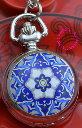 Coupon for wholesale buyer price good quality silver mirror sketch drawing blue vintage star flower pocket watch necklace hour(China (Mainland))