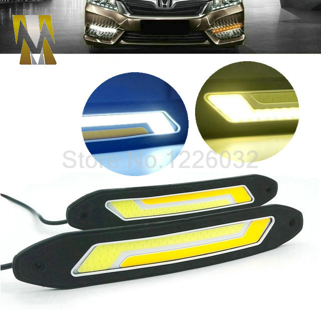 2 In 1 Flexible Car DRL Daytime Running Lights + Turning Lights LED COB Day Light DRL White Amber Turning Steering Signal Lamps(China (Mainland))