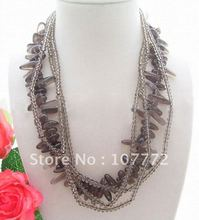 Wonderful! 4S Smoky Quartz&Crystal Necklace+free shippment(China (Mainland))