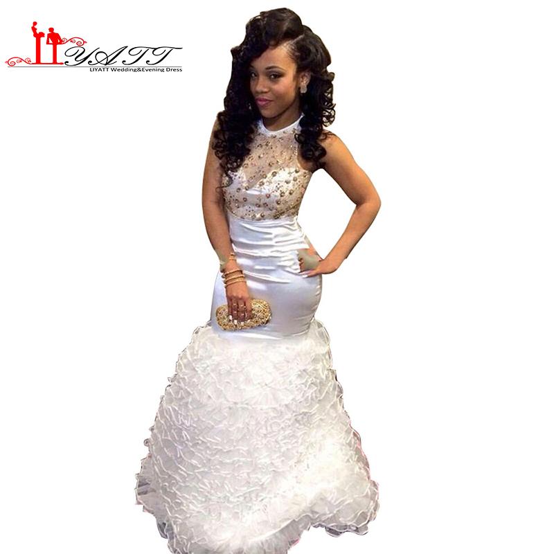 Stock Discount African Cheap Beads Rhinestones Evening Gowns Sexy Mermaid Ruffles Graduation 2016 White gold Prom Dresses - Orenda Wedding Factory store