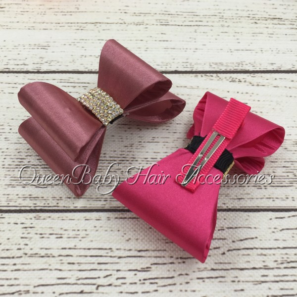 Retail! Hair Bows Matching Clips Hair Clip Hard Bow Boutique Hair Accessory(China (Mainland))